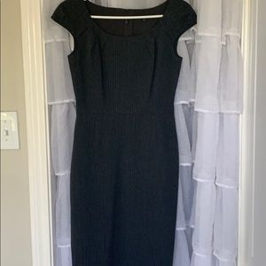 Grey pinstripe cap sleeve dress
